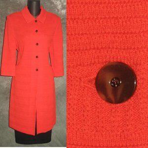 st john orange knit long jacket size 8